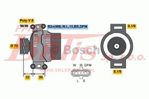 ALTERNATOR 28V/100A /SCANIA P230,270,310,380/R340,380,420,470,500,580,620/T470  bosch  RDZEŃ  1566692  !!!!!
